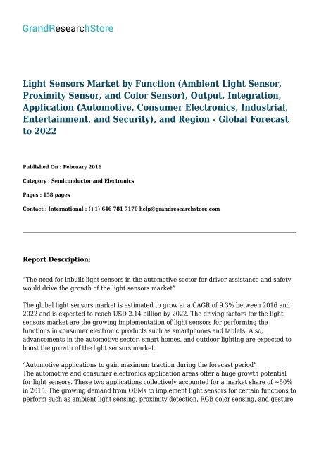 Light Sensors Market By Function Ambient Light Sensor Proximity