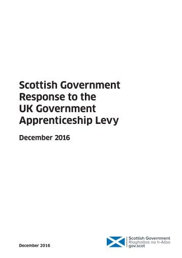 Scottish Government Response to the UK Government Apprenticeship Levy