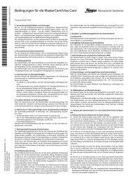 Bedingungen für die MasterCard / VisaCard - Naspa