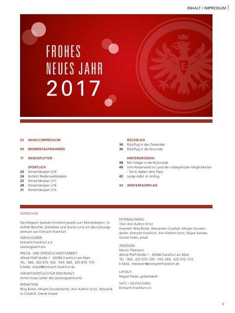 Eintracht Frankfurt Spielzeit 16/17 Januar 2017