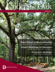 Duke School Under the Oak Magazine, Summer 2014