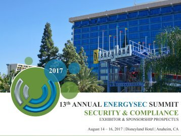 2017 13 ANNUAL ENERGYSEC SUMMIT SECURITY & COMPLIANCE
