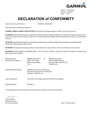 Manufacturers ce declaration of conformity philips lighting poland garmin declarations of conformity antusb m altavistaventures Choice Image