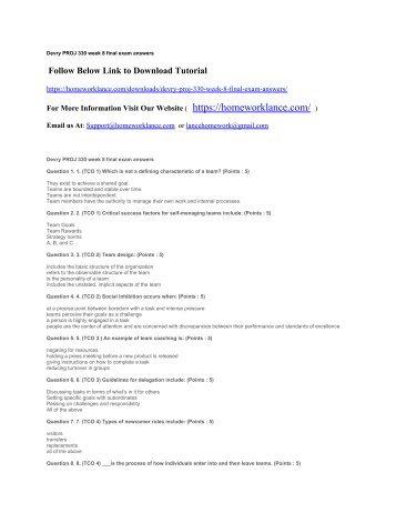 Sbe 330 week 8 final exam answers devry proj 330 week 8 final exam answers fandeluxe Gallery