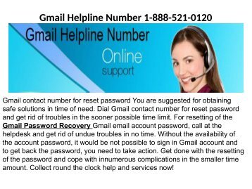 How to recover a lost password of Gmail account1-888-521-0120