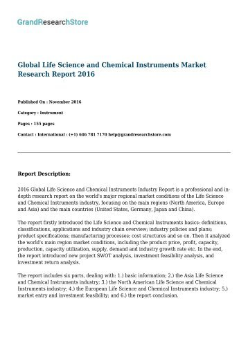 Global Life Science and Chemical Instruments Market By Regions (North America, Europe) By Countries (United States,   Germany, Japan) Research Report 2016
