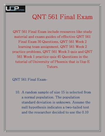 QNT 561 Final Exam 2016 | QNT 561 Final Exam | Uop E Tutors