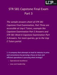 Uop E Tutors | STR 581 Capstone Final Exam Part 3