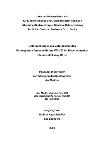 Aus der Universitätskinderklinik Tübingen - TOBIAS-lib - Universität ...