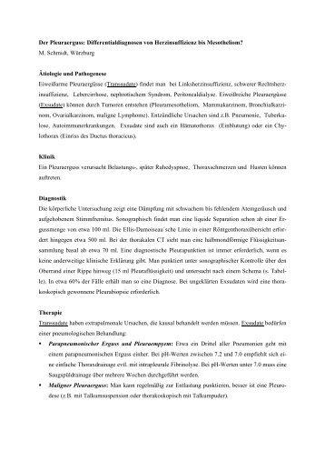 Der Pleuraerguss: Differentialdiagnosen von Herzinsuffizienz bis ...