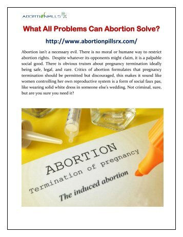 What All Problems Can Abortion Solve?