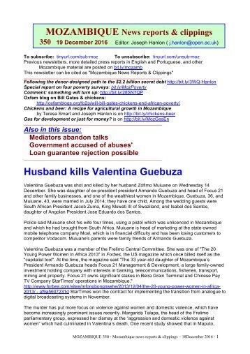 MOZAMBIQUE Husband kills Valentina Guebuza