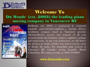 Piano Movers in Vancouver|Du Monde Moving