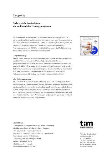 """""""Sicheres Arbeiten im Labor"""" (pdf) - Technik und Medien GmbH"""