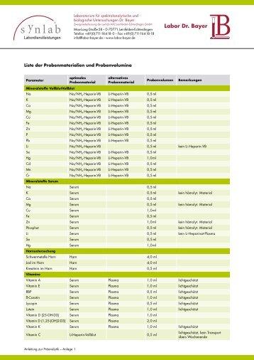 Liste der Probenmaterialien - Labor Bayer