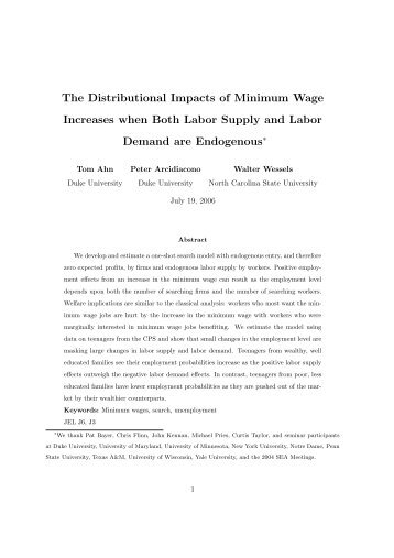 The Distributional Impacts of Minimum Wage ... - Heinz College