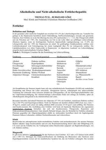 Alkoholische und Nicht-alkoholische Fettleberhepatitis Fettleber