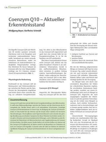 Coenzym Q10 – Aktueller Erkenntnisstand - Labor Bayer