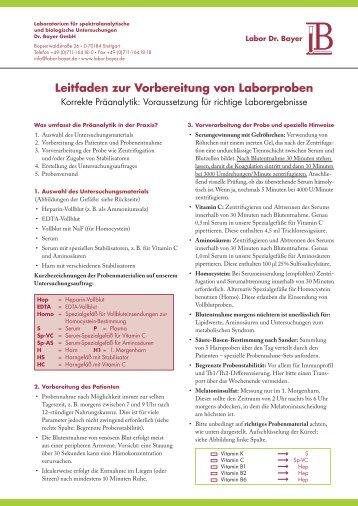 Leitfaden zur Vorbereitung von Laborproben - Labor Bayer