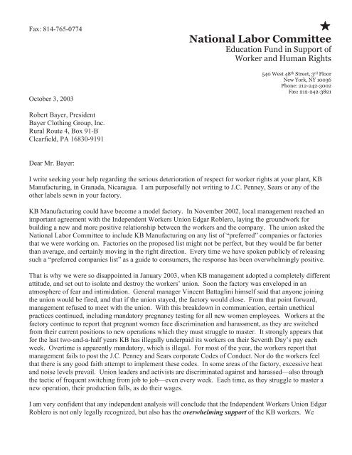 National Labor Committee Letter to Bayer Clothing Group
