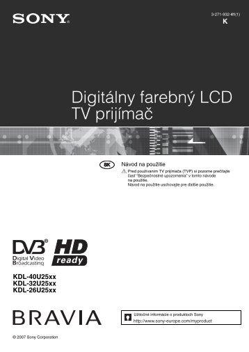 Sony KDL-26U2530 - KDL-26U2530 Istruzioni per l'uso Slovacco