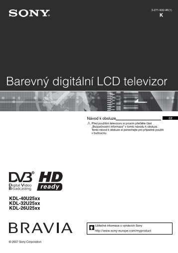 Sony KDL-26U2530 - KDL-26U2530 Istruzioni per l'uso Ceco
