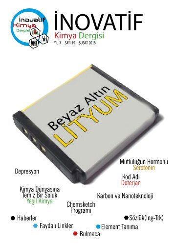 İnovatif Kimya Dergisi Sayı 19