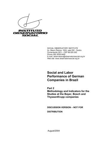 Social and Labor Performance of German Companies in Brazil