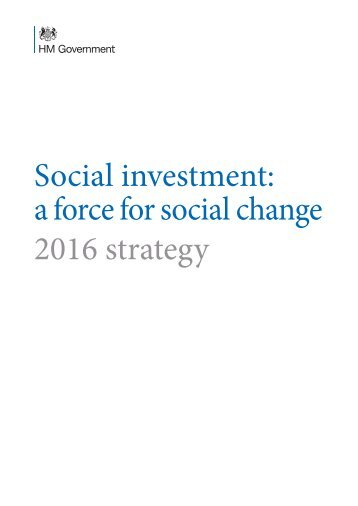 Social investment a force for social change 2016 strategy