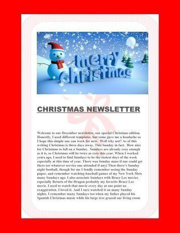 CHRISTMAS NEWSLETTER December 2016