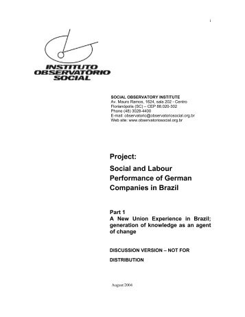 Social and Labour Performance of German Companies in Brazil