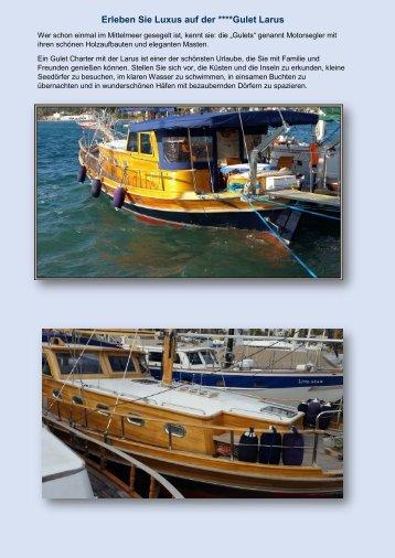 Datenblatt und Preisangebot Gulet Boot Larus Adria Turn