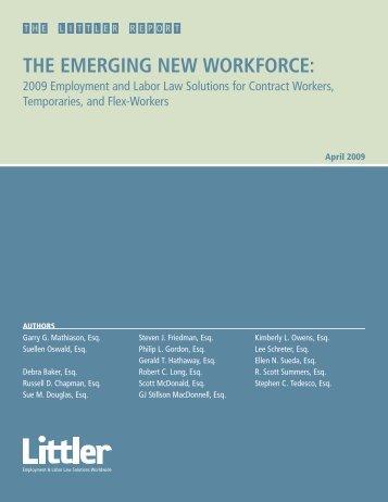 THE EMERGING NEW WORKFORCE: - Littler Mendelson