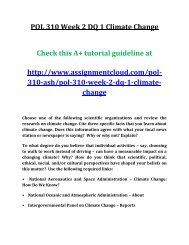 ASH POL 310 Week 2 DQ 1 Climate Change