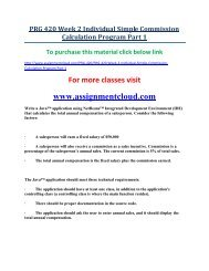 UOP PRG 420 Week 2 Individual Simple Commission Calculation Program Part 1