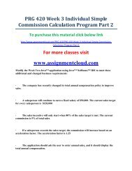 UOP PRG 420 Week 3 Individual Simple Commission Calculation Program Part 2