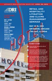 DRI's Retail and Hospitality Litigation and - Hinckley, Allen & Snyder ...