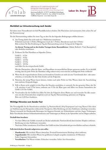 Merkblatt zur Urinuntersuchung nach Sander - Labor Bayer
