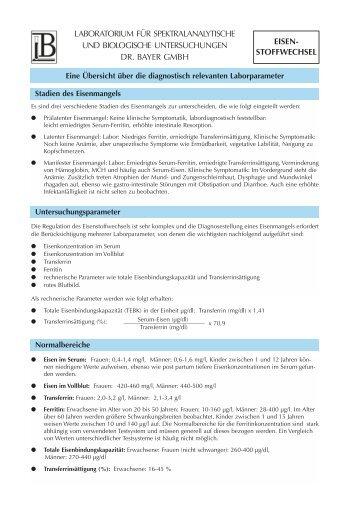Bewertung pathologischer Werte - Labor Bayer