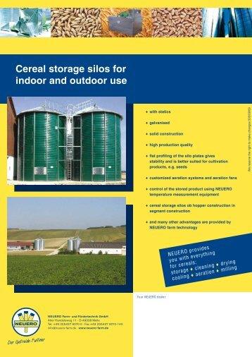 Cereal storage silos for indoor and outdoor use - NEUERO Farm