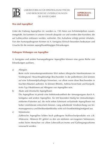 Aspergillus-Serologie - Labor Bayer