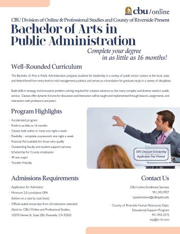 CBU Online and Professional University offers Bachelors in Public Administration