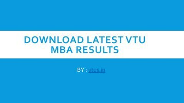 Download Latest VTU MBA Results 2017