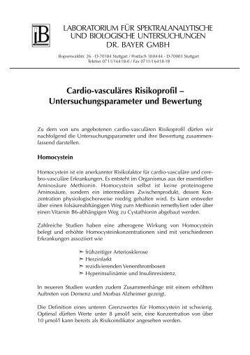 Laborinformationen: Cardio-vasculäres Risikoprofil - Labor Bayer