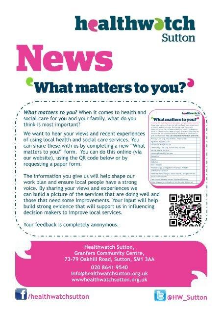 Healthwatch Sutton Spring 2015 (Spring) Newsletter