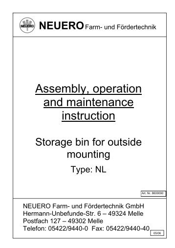 Assembly, operation and maintenance instruction - NEUERO Farm