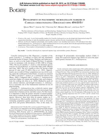 (theaceae) using 454-ests - American Journal of Botany