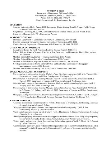 Curriculum vitae - Department of Economics - University of ...