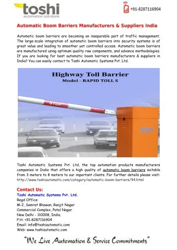 Automatic Boom Barriers Manufacturers & Suppliers India - Toshi