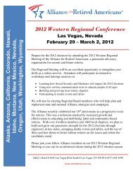 2012 Western Regional Conference - Alliance for Retired Americans
